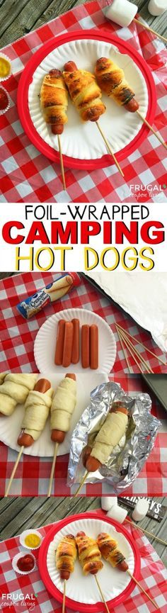 Crescent hot dogs on stick with foil , 15-20 min over fire
