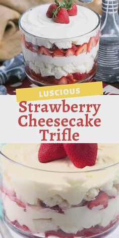 Strawberry Cheesecake Trifle - Layers of angel food cake, boozy berries, and cream cheese filling make for a blissful berry dessert! Perfect with beautifully ripe, seasonal strawberries! Angel Food Cake Trifle, Strawberry Angel Food Cake, Angel Food Cake Desserts, Trifle Cake, Angle Food Cake Recipes, Strawberry Recipes, Food Cakes, Mini Desserts, Summer Dessert Recipes