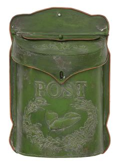 Green post box wall decor that looks vintage. Would look great in farmhouse decor! Wall Mount Mailbox, Mounted Mailbox, Farmhouse Mailboxes, Farmhouse Decor, Farmhouse Style, Craftsman Mailboxes, Modern Farmhouse, Antique Farmhouse, Rustic Decor