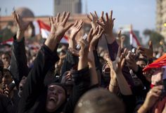 Anti-government egyptian protesters in Tahrir Square in downtown Cairo, Egypt , Saturday, Feb. 12, 2011