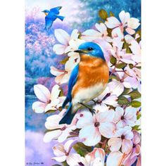 Beautiful Bluebirds Garden Flag