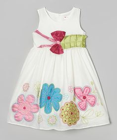 Another great find on #zulily! White Floral Bow Dress - Toddler & Girls by Bonny Billy #zulilyfinds