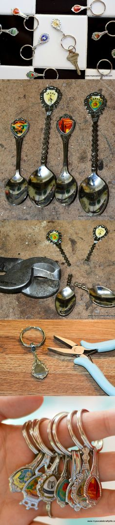 Turning my souvenir spoon collection into keychains and necklaces . . .it's very easy and this makes a great gift idea!