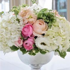 Silver vase with hydrangeas and roses. Really like this