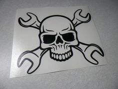 Mechanic decal sticker Skull with crossed wrenches