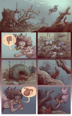 Here is a little 10 page comic that took much too long. It's kind of based off of my 6 year old self and my life goal (at the time) to live . Cute Comics, Funny Comics, Dragon Rey, Underwater Art, Comics Story, Mermaids And Mermen, Estilo Anime, Short Comics, Cute Stories