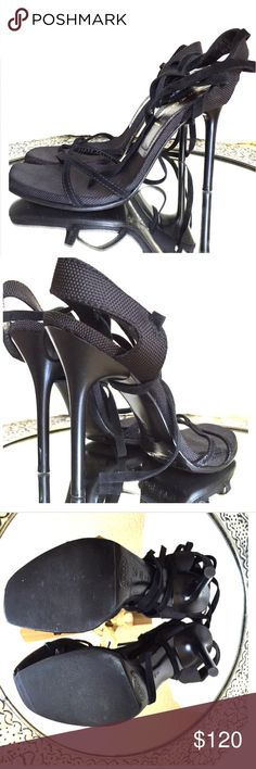 Casadei lace up strappy black heels sz 40, 9.5 ,9 Sexy simple black strappy heels, suede straps that lace up the ankle. In like new condition with no signs of wear. Soles have been professionally protected. Size 40 will fit a US 9-9.5 Casadei Shoes Heels