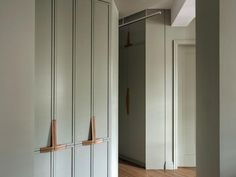 Workstead, Rosario Candela, Brooklyn, Farrow and Ball French Gray, entry hall, 4 storage lockers
