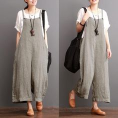 Cotton Linen Sen Department Causel Loose Overalls Big Pocket Maxi Size Trousers…