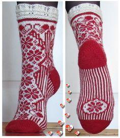 Ravelry: Julesokk pattern by H-Strikk Crochet Socks, Knitted Slippers, Wool Socks, Crochet Yarn, Fingerless Mittens, Knit Mittens, Knitting Socks, Baby Knitting, Craft Patterns