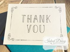 Shower Thank You Card, Wedding Thank You Card, Swirl Border, Elegant Thank You by InkedDaisyDesigns on Etsy