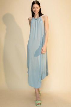 Scoop Bottom Dress with Back Keyhole - Twilight Blue / S