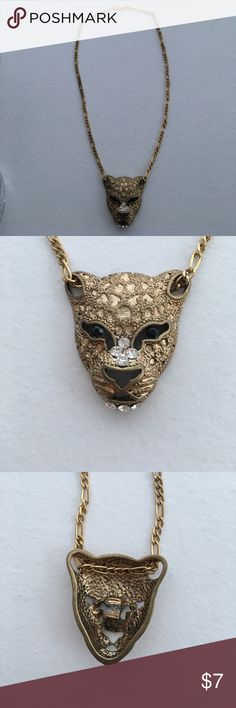 Jaguar or Panther Gold Costume Necklace Gold, jaguar or panther necklace from Forever 21. Bold statement piece to dress on the wild side! Good condition! Forever 21 Jewelry Necklaces