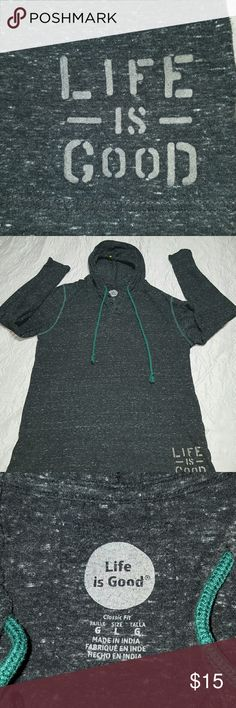 Life is Good Pullover Mens Large, Life is Good, black (marled) color pullover hoodie in a classic fit style.    Gently used and in great condition. Life is Good Shirts Sweatshirts & Hoodies
