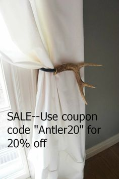 Curtain Tieback Deer Antler Tie Back Holdback by UpscaleDownhome,