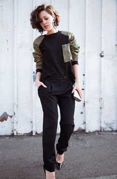 slouchy pants and boxy top