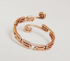 Greek fret ring  - handmade frekwork ring and curly copper wire - almost Greek key