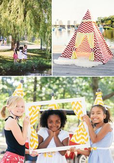 Cute ways to incorporate Chevron into your party — DIY teepee, picture frame & more.