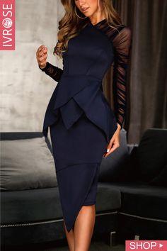 f4c8e32f5bd Mesh Sleeve Peplum Irregular Dress Robe De Soirée Classe