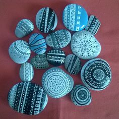 Hand painted pebbles - Aztec Style