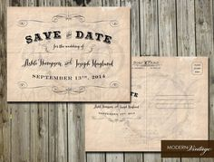 Save the Date Vintage Postcard with Scroll by ModernVintagebyBonni, $20.00