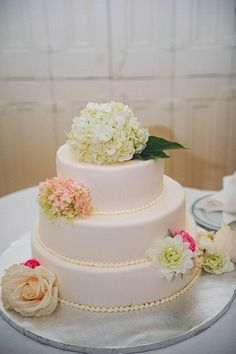 Understated white wedding cake with soft floral details | Photo by Janet Moscarello Photography via http://junebugweddings.com/wedding-blog/what-junebug-loves/classic-wedding-union-club-boston/