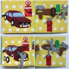 Personalized quiet book 6 by Lujdelson on Etsy. Fix the car and tool belt.