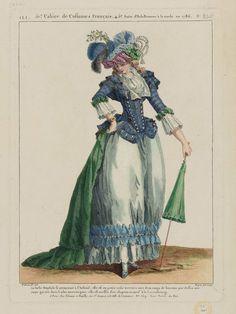 """Gallerie des Modes et Costumes Français. 52e Cahier de Costumes Français, 46e Suite d'Habillemens à la mode en 1787. HHH.325 """"La Belle Omphale se promenant à l'Arsenal..."""""""