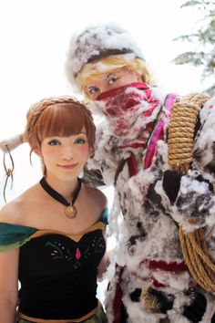 Anna and Kristoff...the Halloween spider webbing for frost is pretty clever