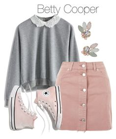 A fashion look from October 2017 featuring crochet tops, mini skirts and pink shoes. Browse and shop related looks. Betty Cooper Style, Betty Cooper Aesthetic, Betty Cooper Outfits, Teenage Girl Outfits, Teen Fashion Outfits, Teenager Outfits, Cute Casual Outfits, Stylish Outfits, Betty Cooper Riverdale