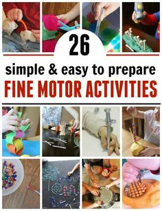 These 26 fine motor activities are quick and simple to prepare! You'll love how busy they'll keep your preschooler.