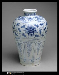 Bottle with Birds and Peony Scroll century Culture:Vietnam Medium:Stoneware painted with cobalt blue under transparent glaze Dimensions:H. of base: 6 in. cm) Classification:Ceramics Credit Line:Gift of Betty and John R. Blue And White China, Blue China, Japanese Porcelain, White Porcelain, Vietnam, Johann Wolfgang Von Goethe, Chinese Ceramics, White Vases, Delft