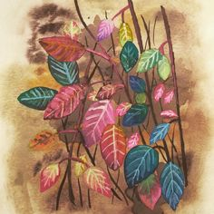 Yesterday, I found these beautiful leaves with red, blue, yellow and green colors and I was so inspired to paint them! Autumn Art, Autumn Leaves, Nature Paintings, Watercolor Paintings, Nature Drawing, Painted Leaves, Blue Yellow, Green Colors, Amazing Art