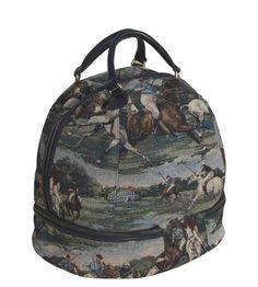 Equestrian Helmet Bag in Polo tapestry