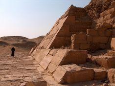 Base of the walls of the pyramid of Unas. Saqqara, Egypt.