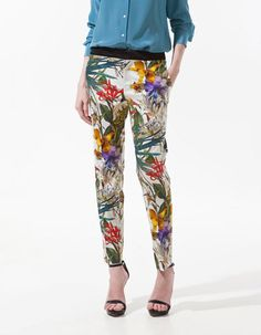 ZARA COTTON FLORAL TROPICAL FLOWER PRINTED TROUSERS CHINOS Size Small Waist 31