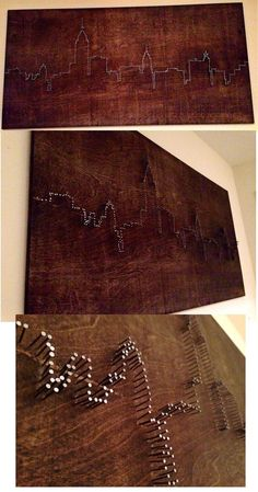 DIY Nail Art- New York City Skyline made from stained board and nails - Skyline . - DIY Nail Art- New York City Skyline made from stained board and nails – Skyline gtr - Nail Art Diy, Diy Nails, Nail Nail, New York City Skyline, Chicago Skyline, City Skyline Art, Toronto Skyline, Latex Mattress, Creation Deco