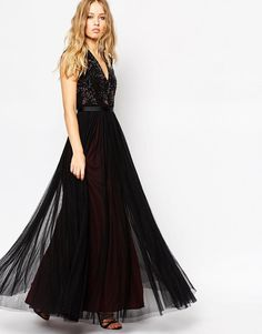 Needle & Thread | Needle & Thread V Neck Embellished Top Maxi Dress at ASOS
