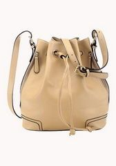 Fashion Bags Outlet Calf Leather Bucket Bag Beige