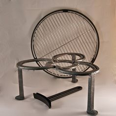Campfire stand, 3 legs, incl trivet, grate, handle, BBQ grill, over camp ground firepit on Etsy, $89.00