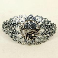 Steampunk Antiqued Silver Filigree Cuff by velvetmechanism on Etsy