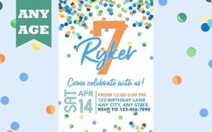 Seventh Birthday Invitation, Blue Confetti, Boy 7th Birthday Invite, Confetti Birthday, Any Age, Printable, Boy Birthday Invitation, Printed