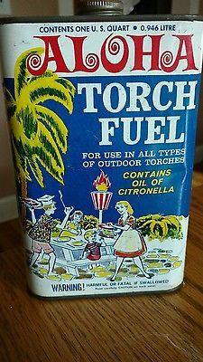 Vintage*1960's*Aloha*Tiki*Torch Fuel*Tin*Can*Master*Banner Mfg.Co.Inc.*New York