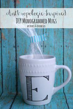 anthropologie inspired DIY monogrammed mugs