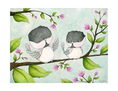 art print birds chickadees garden friends von staceyyacula