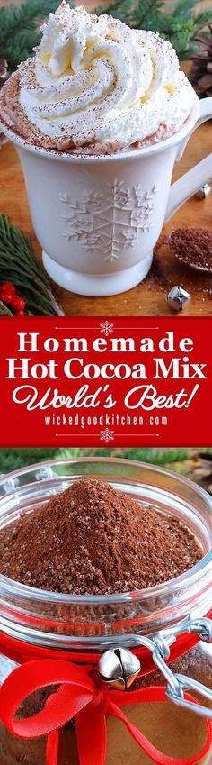 "Homemade Hot Cocoa Mix – World's Best ~ The perfect Homemade Hot Cocoa Mix! Makes exceptional rich and creamy classic ""real deal"" hot cocoa that can be customized with our many variations. Includes Top 10 Secrets to Make the Very Best Cup of Hot Cocoa. Christmas Drinks, Holiday Drinks, Christmas Treats, Holiday Recipes, Christmas Holiday, Winter Drinks, Christmas Brunch, Xmas, Hot Chocolate Bars"