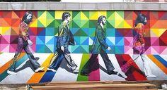 The Beatles Street Art o Kobra Murals Street Art, Kobra Street Art, Street Art Graffiti, Mural Wall Art, Mural Painting, Pablo Picasso, Brazil Art, Street Art London, Urbane Kunst