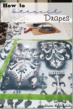 How to stencil Drapes!  Simple $25/pair Ikea panels to designer look!