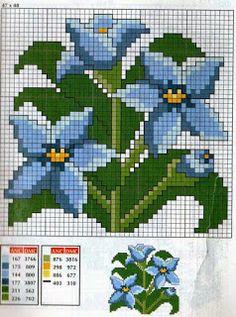 Ponto cruz: Flores Gráficos Ponto Cruz