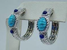 c94b89d20 925 STERLING SILVER JUDITH RIPKA TURQUOISE & LAPIS ROUND HOOP EARRINGS  .87